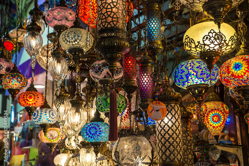 Bright multi-colored lamp in the Oriental style. Oriental flavor. Poster