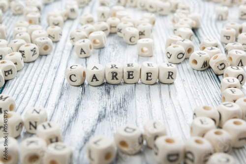 Poster Wood Blocks with the word Career. Wooden ABC