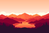 Fototapety Vector mountain and forrest landscape on the sunset.