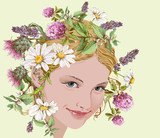Boho style portrait of young beautiful woman with wild flowers and herbs wreath on her head. Can be used as boho chic or herbal treatment design. Vector illustration.