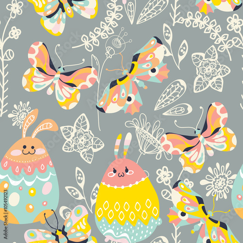 Cotton fabric Colorful Easter background with  bunny,butterfly and flowers