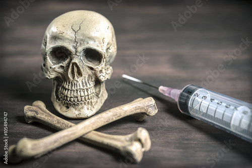 Poster still life Human skull and crossbones drug addict concept