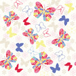 Seamless pattern with flying butterflies and flowers.