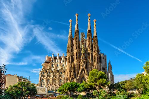 Leinwandbild Motiv Nativity facade of Sagrada Familia cathedral in Barcelona