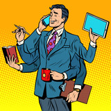 Fototapety Business successful businessman multitasking