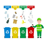 garbage man in uniform with different colors garbage bins cans with sorted waste isolated on white background. garbage waste segregation , waste sorting concept illustration