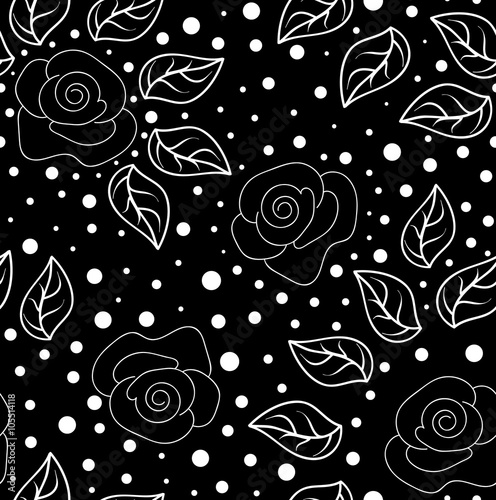 Materiał do szycia Decorative vector seamless texture with roses and leaves in the garden