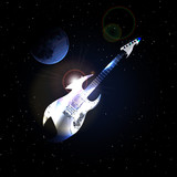 raster version guitar in space on background of the moon
