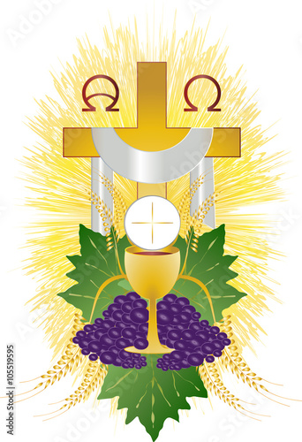 Zdjęcia na płótnie, fototapety, obrazy : Eucharist symbol of bread and wine, chalice and host, with wheat ears wreath and grapes, with a cross. First communion illustration.