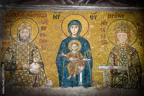 Poster Christian Icon of Virgin Mary in Hagia Sophia in Istanbul