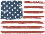 American Flag Grunge Background. Vector Template. Horizontal ori - 105532199