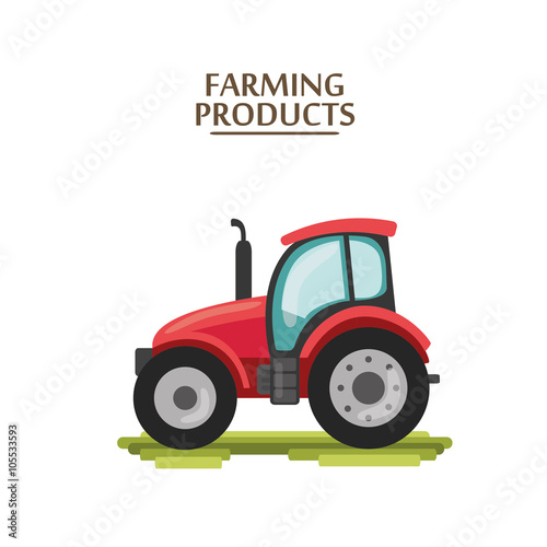 Poster flat cartoon tractor. farmer production machine