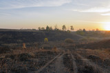Countryside landscape after a steppe fire