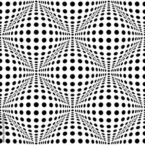Seamless 3d dotted pattern with bulging distortion effect - 105546111