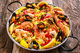 Colorful Seafood Paella Dish with Shellfish - 105550746