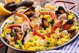 Fresh and Colorful Spanish Seafood Paella Dish - 105550797