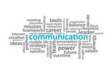 Communication - Typography graphic work, consisting of important words and concepts in the business world.