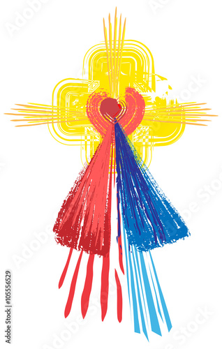 Naklejka Artistic abstract watercolor symbol of Sacred Heart of Jesus Christ and Divine Mercy