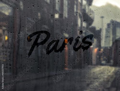 Berlin written on a foggy window - 105557933