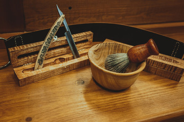 Shaving accessories on a luxury