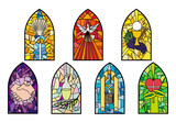 Symbols of the seven sacraments of the Catholic Church on stained glass church windows