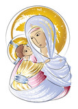 Blessed Virgin Mary Madonna with child icon abstract color drawing - 105561756