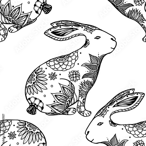 Cotton fabric background with rabbits.