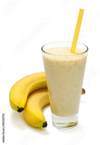 Aluminium Milkshake banana milk smoothie on white background