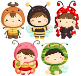 Fototapety Boys and Girls in Insect Cute Costume