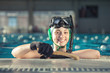 Young underwater hockey player portrait