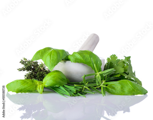 Green Herbs in Pestle and Mortar on White