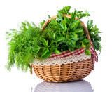 Basket Green Herbs Dill and Parsley on White Background - 105588928