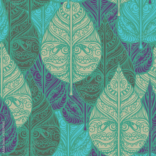 Panel Szklany Seamless pattern with leaves