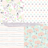 Seamless spring floral patterns set. Background with flowers, l - 105605141