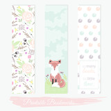 Printable bookmarks with flowers, fox and polka dots. Vector tem - 105605320