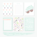 Printable cute set of filler cards with flowers, sunglasses and - 105605338