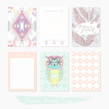 Printable cute set of filler cards with aztec pattern, owl and f - 105605346