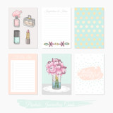 Printable cute set of filler cards with flowers, makeup, jewelry - 105605355