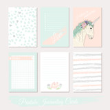 Printable cute set of filler cards with flowers, unicorn, polka - 105605359