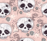 Cute tattoo style skull seamless patten. Skull with flowers and - 105605560