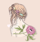 Cute fashion girl illustration. Young girl with braided hair, ge - 105605568