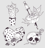 Cute tattoo set. Cactus, flower, skull and bird with heart.