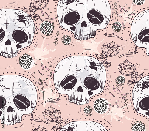 Cute tattoo style skull seamless patten. Skull with flowers and