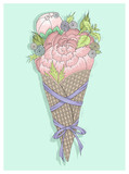 Flowers bouquet in ice cream cone with ribbon. Floral vector ill - 105605704