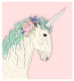 Cute unicorn with flowers. Fairytale vector illustration for kid - 105605712