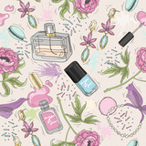 Seamless beauty pattern with make up, perfume, nail polish, flow - 105605734