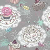Seamless pattern with cupcakes, tea and macaroons. Cute backgrou - 105605777