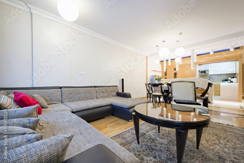 Open floor apartment interior