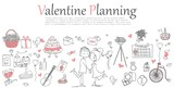 Valentine Doodle line design of web banner templates with outline icons of valentine planning and greeting card.Vector illustration concept for valentine day.