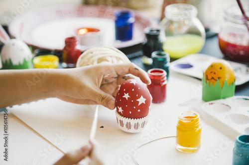 Zdjęcia na płótnie, fototapety, obrazy : Coloring Easter Eggs for easter day concept